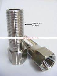 "Albacore  1/2"" BSP 70mm Stainless Steel M&F Tail Extension Each  UUL3-1B - Bespoke Part"