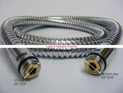 "Aston Matthew Novara Mk2 3/8"" Malex3/8"" Male 1500mm Chrome Shower Hose UOL6X8 - Bespoke Part"