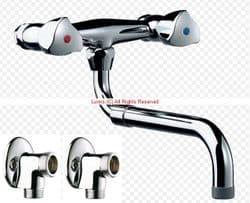 Delta Wall Mounted Sink Mixer c/w Exposed Wall Plate Elbows D5466798784111