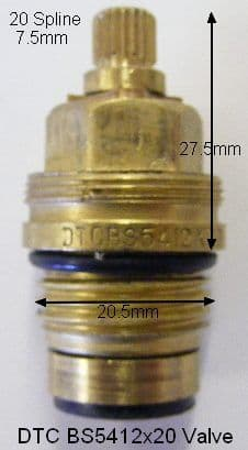 DTC20 MK1 BS5412 X20 Danube BS5412 Washer Valve Replaced T20-10AMOD (Pair)