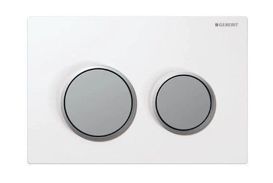 Geberit 115 Flush Plate White Plate Matt Silver Button - Bespoke Part