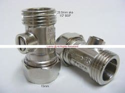 Nelson NW1 Straight Tap Tail Service Valve 15mmx1/2inch Pair