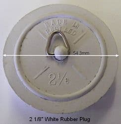 "Reel 2-1/8"" White Rubber Waste Plug"