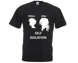 Before and after isolation lady hair t-shirt