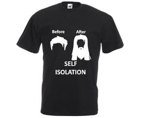 Before and after isolation man hair t-shirt
