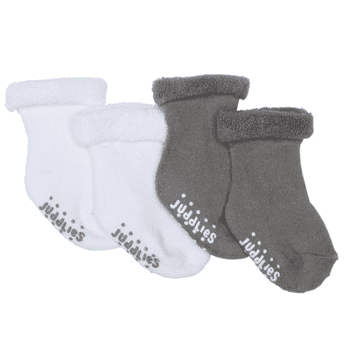 Juddlies Designs Infant Socks - 2pk (Grey & White)