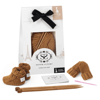 Sophie la Girafe Knitting Kit - Mini Mittens & Booties (Tan)