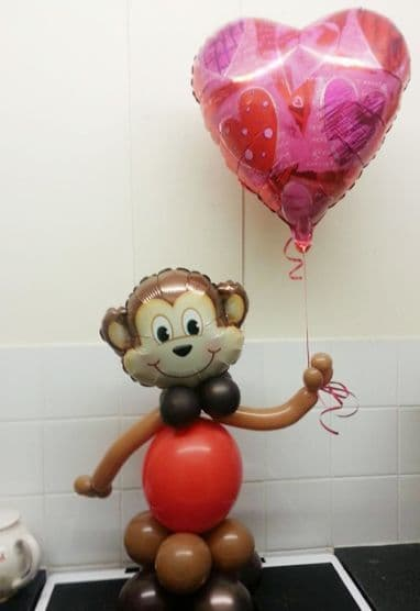 2ft Monkey Balloon Character with Heart foil