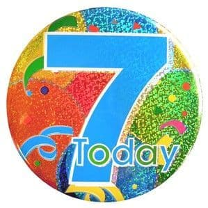 Badge: 7 Today Balloon Print Holographic Big Badge