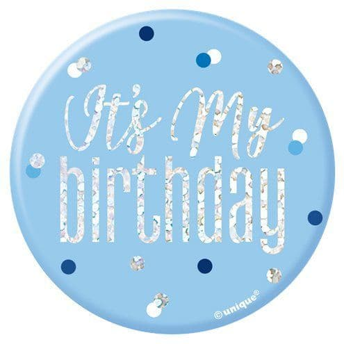 Badge: Blue Birthday Glitz