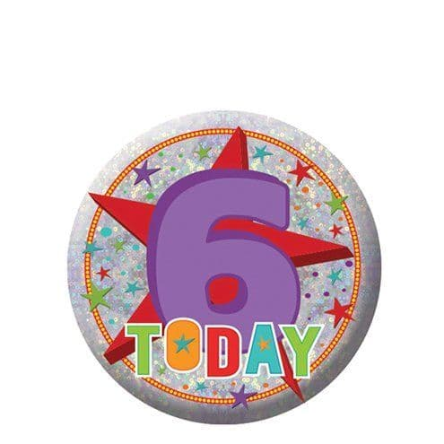 Badge: Happy 6th Birthday Badge - 5.5cm
