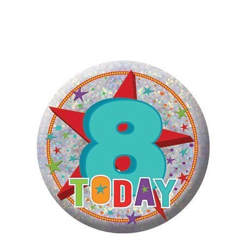 Badge: Happy 8th Birthday Badge - 5.5cm
