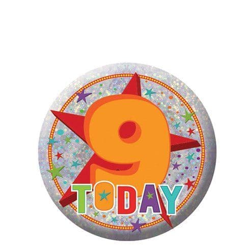 Badge: Happy 9th Birthday Badge - 5.5cm