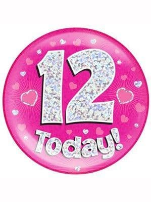 Badge: Pink 12th Birthday Holographic Jumbo Badge