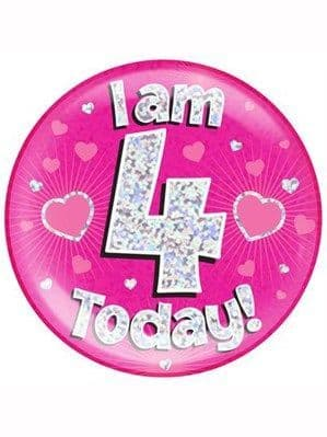 Badge: Pink 4th Birthday Holographic Jumbo Badge