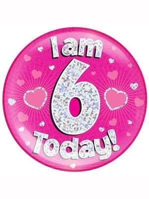 Badge: Pink 6th Birthday Holographic Jumbo Badge