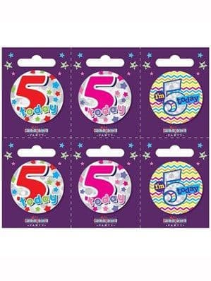 Badge: Small 5th Birthday Badges 6pk