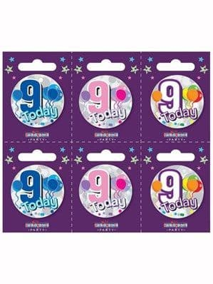 Badge: Small 9th Birthday Badges 6pk