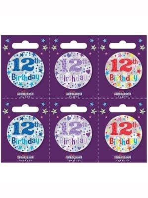 Badges: Small 12th Birthday Badges 6pk