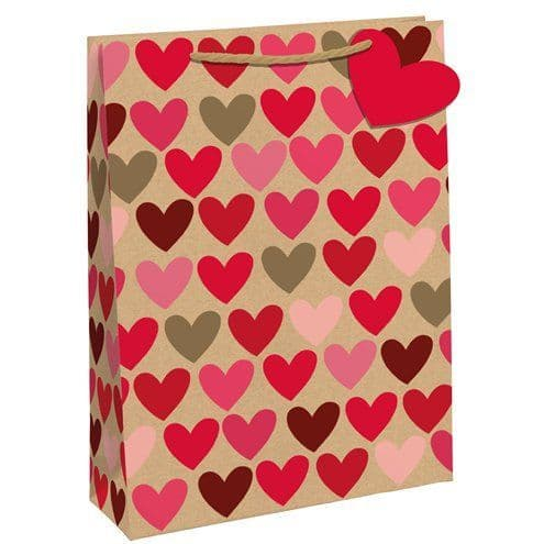 Bags: Heart Kraft Gift Bag - Medium - each