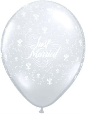 Balloon: 11'' Just Married Flowers Around  Latex Balloons x25pk - Clear