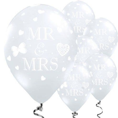 Balloon: 11'' Mr and Mrs Diamond Clear Wedding Balloons 50pk