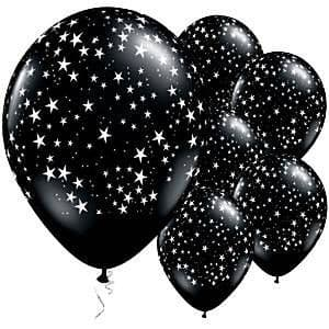 Balloon: 11'' Onyx Black Stars Latex Balloons 25pk