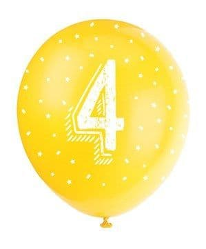 Balloon: 11' Pearlised Assorted Colour 4th Birthday Latex Balloons 5pk