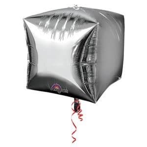 Balloon: 15'' Cubez™ Foil Balloons - Silver - pack 3 (Sold deflated)