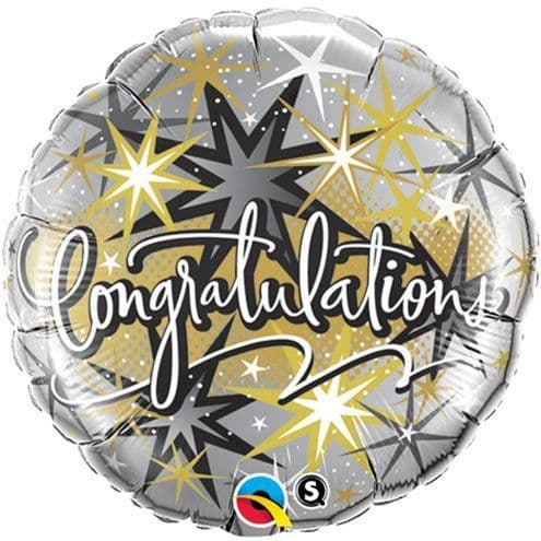 Balloon: 18'' Congratulations Elegant Stars Balloon  - sold deflated