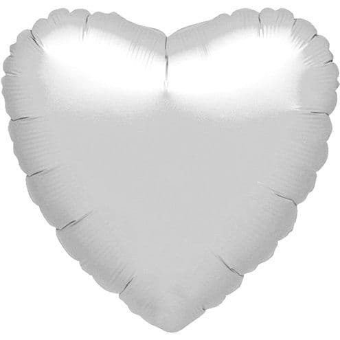 Balloon: 18'' Metallic Silver Heart Balloon (each) Sold deflated