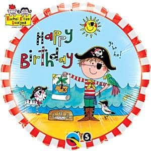 Balloon:  18'' Rachel Ellen Birthday Pirate Foil Balloons (each) Sold deflated