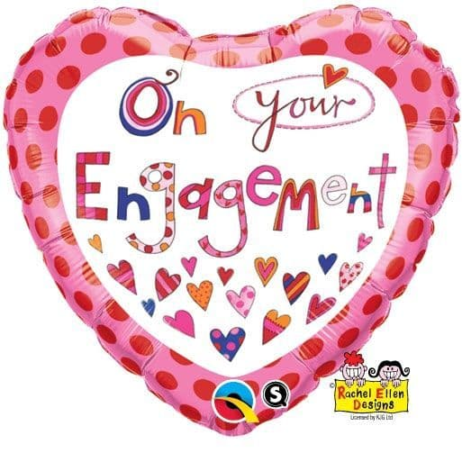 Balloon: 18'' Rachel Ellen On Your Engagement Foil Balloon (each) Sold Deflated