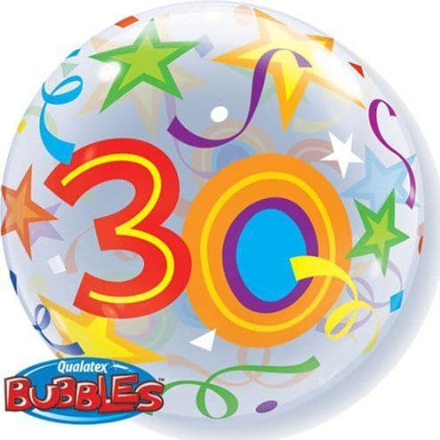 Balloon: 22'' Age 30 Brilliant Stars Bubble Balloon (each) Sold deflated