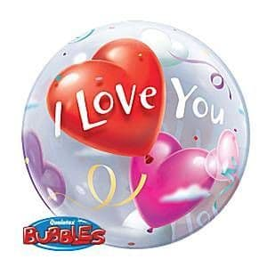 Balloon:  22'' I Love You Valentines Balloon Bubble Sold deflated