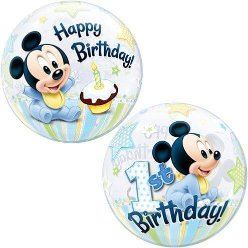 Balloon: 22'' Mickey Mouse 1st Birthday Bubble Balloon - Sold Deflated