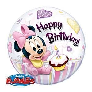 Balloon: 22'' Minnie Mouse 1st Birthday Bubble Balloon (each) Sold deflated