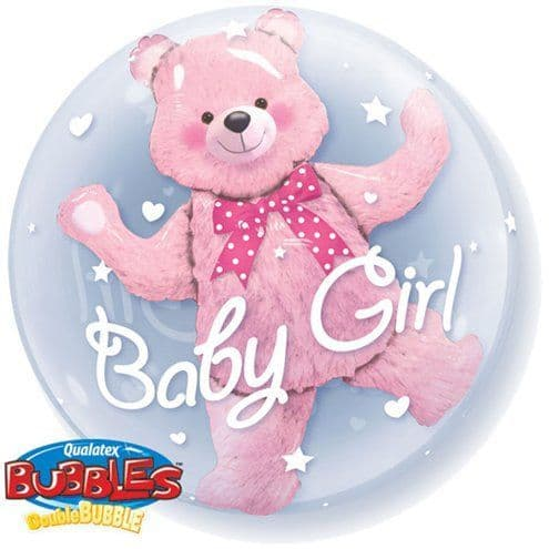 Balloon: 24'' Baby Pink Bear Bubble Balloon (each) Sold deflated