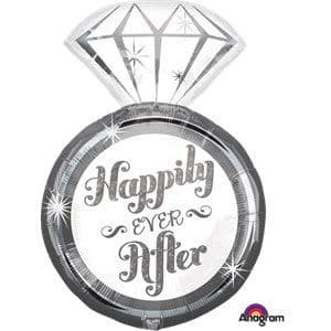 Balloon:  27'' Happily Ever After Ring Supershape Balloon Foil Balloon - Sold deflated