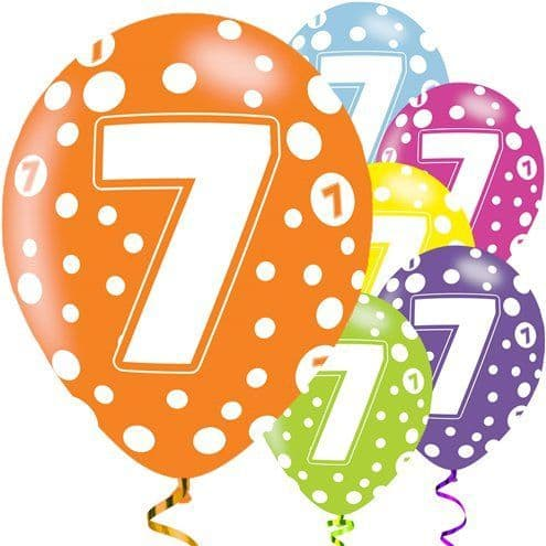 Balloon: 7th Birthday Assorted Balloons x6pk