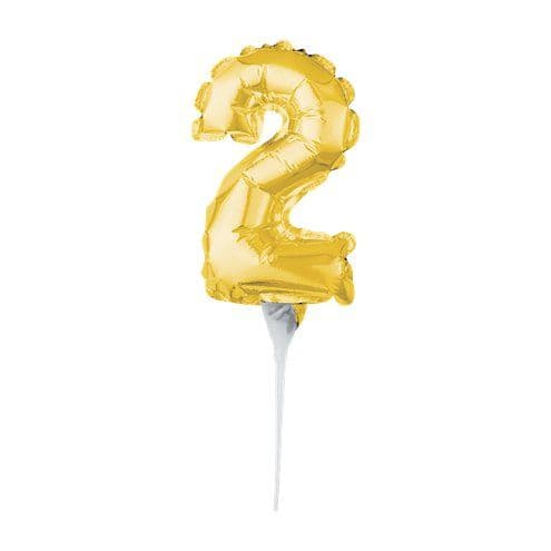Balloon: Air-Filled Gold Balloon Number 2 Cake Topper - 15cm