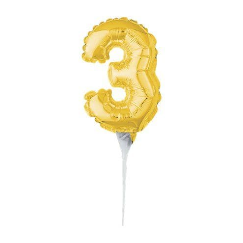 Balloon: Air-Filled Gold Balloon Number 3 Cake Topper - 15cm
