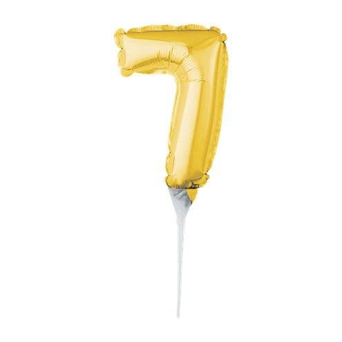 Balloon: Air-Filled Gold Balloon Number 7 Cake Topper - 15cm
