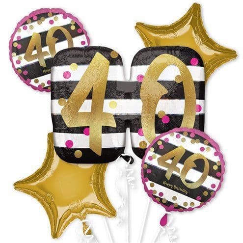 Balloon Bouquet: 40th Pink & Gold Bouquet - Assorted Foil- Sold Inflated