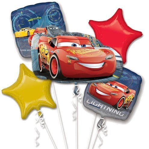 Balloon Bouquet:Cars Lightening McQueen Bouquet Balloons - Sold Deflated