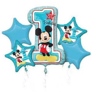Balloon Bouquet: Mickey Mouse 1st Birthday Balloon Bouquet - Assorted Foil Sold Deflated