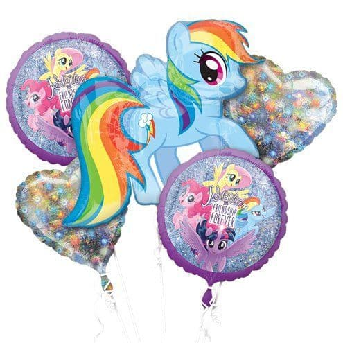 Balloon Bouquet: My Little Pony Holographic Balloon Bouquet - Assorted Foil Sold deflated