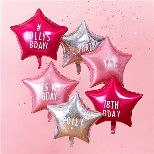 Balloon Bouquet: Pink & Iridescent Personalisable Star Foil Balloon pack - Sold deflated
