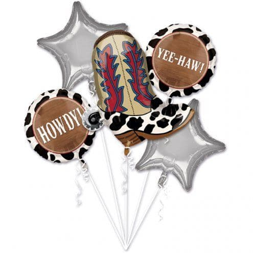 Balloon Bouquet: Western Party Balloon Bouquet - Assorted Foils - Sold deflated