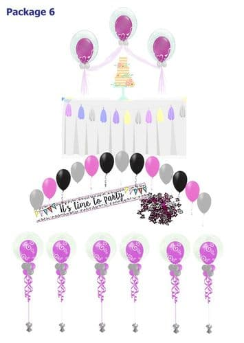 Balloon Package 6: Bubble Cake Table & Table balloons & Single Arch
